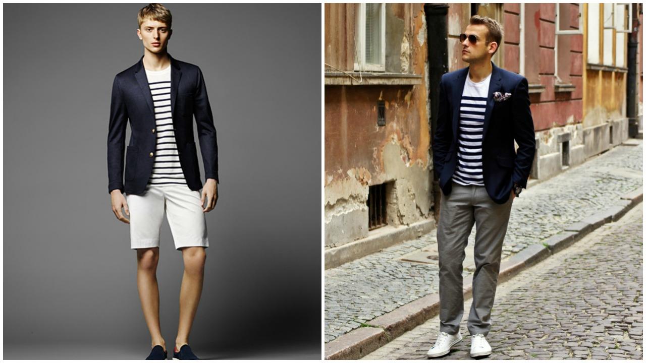 Lacivert blazer ceket & çizgili tişört ikilisi