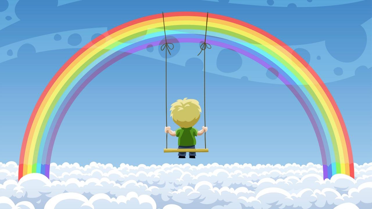 Рисунки о радуге с людьми