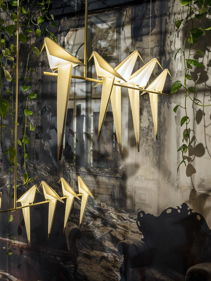 origami-bird-lights-creative-lamps-family-umut-yamac-1  Japon kağıt katlama sanatına Türk dokunuşu ekleyen tasarımcıdan estetik origami lambalar origami bird lights creative lamps family umut yamac 1
