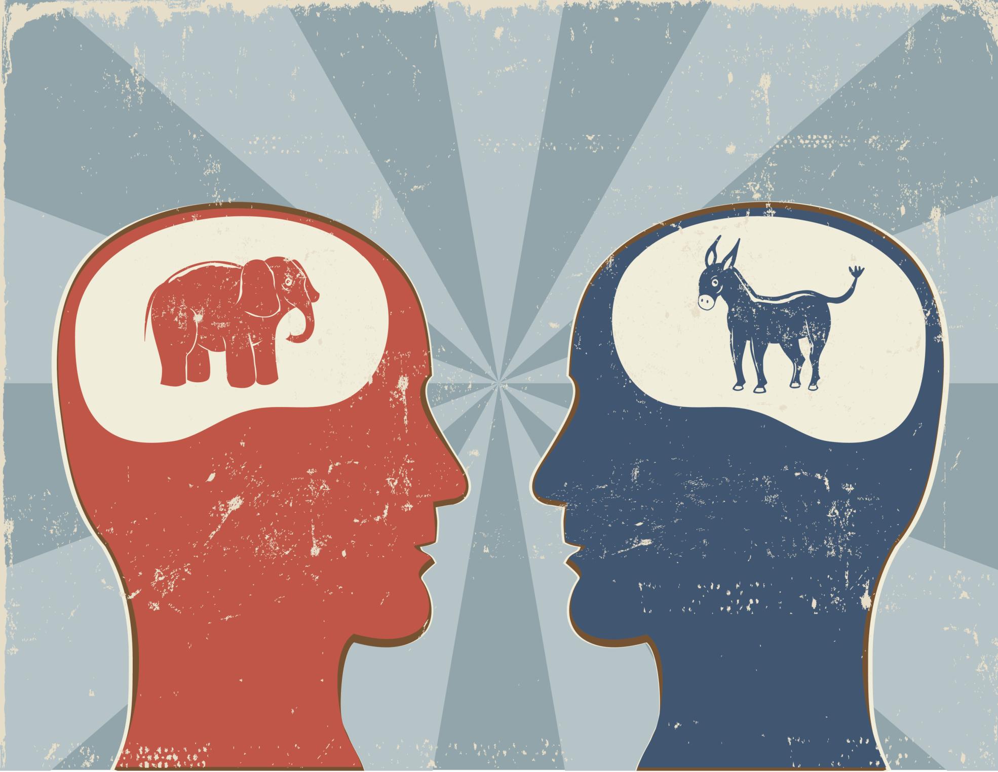 Democrat vs. Republican Profiles Radiating Background