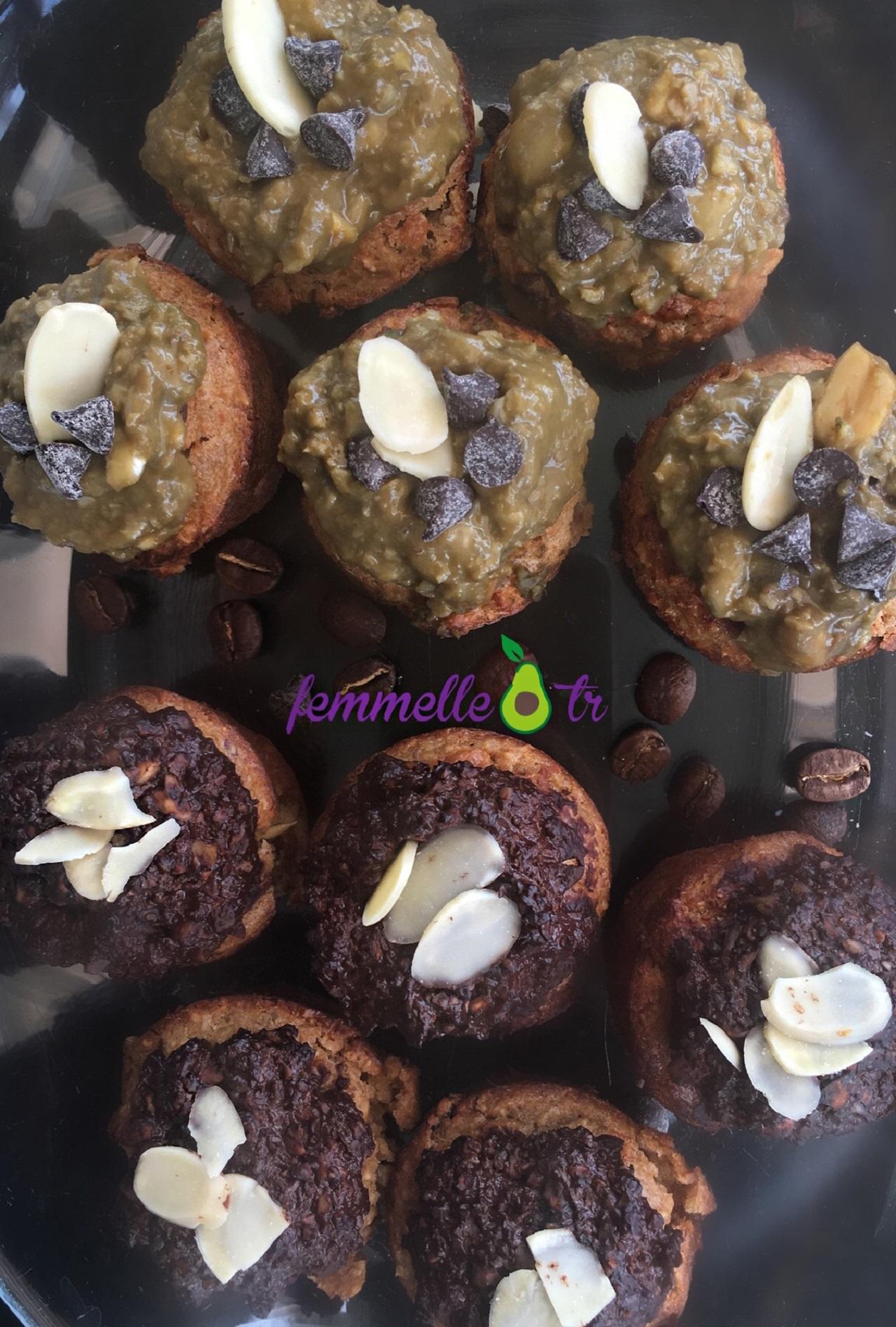 Matcha ve kakaolu espresso muffin