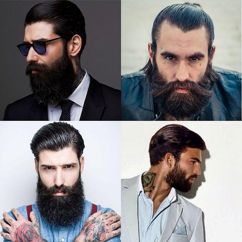 erkek sakal modelleri geriye dogru tarali saclar ve sakal
