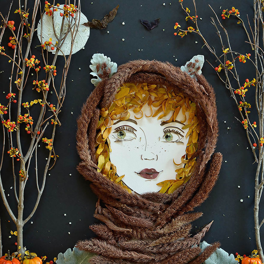 I balance twigs and flowers to create intricate portraits out of mother nature bb