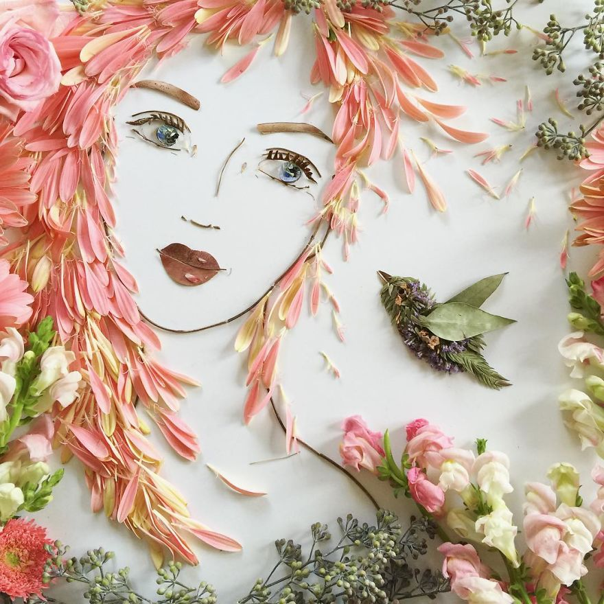 I balance twigs and flowers to create intricate portraits out of mother nature bbbfeca