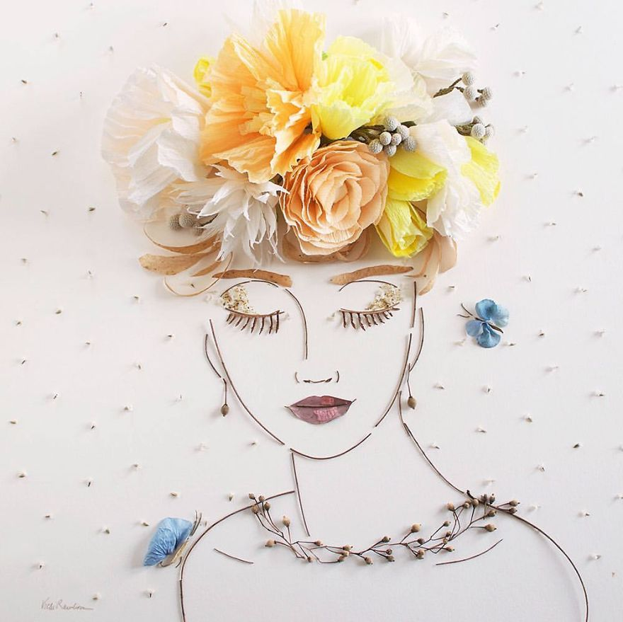 I balance twigs and flowers to create intricate portraits out of mother nature bbcede