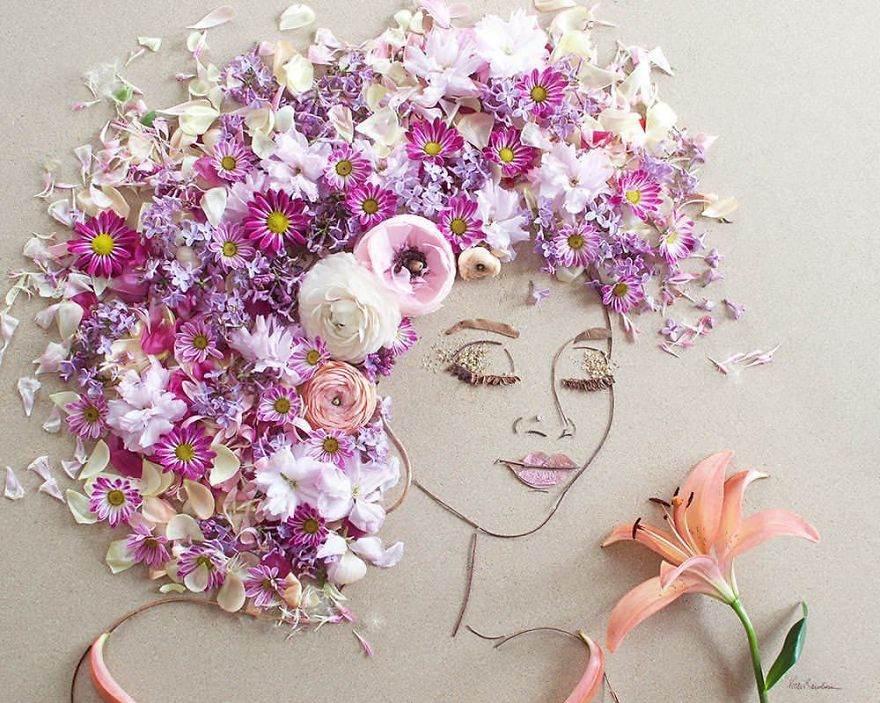 I balance twigs and flowers to create intricate portraits out of mother nature bbdbb