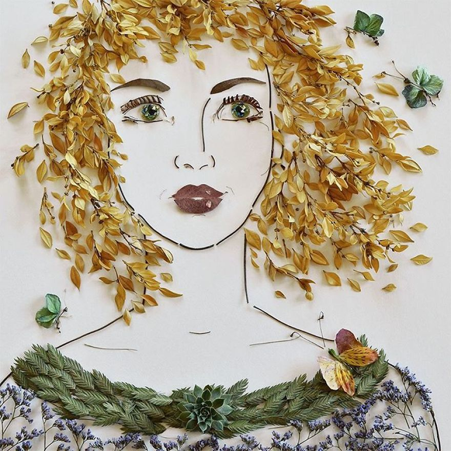 I balance twigs and flowers to create intricate portraits out of mother nature bdadb