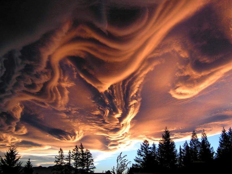 Dalgalı bir denizi andıran bulutlar