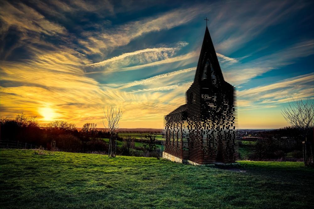 Limburg'taki içini gösteren kilise, Belçika