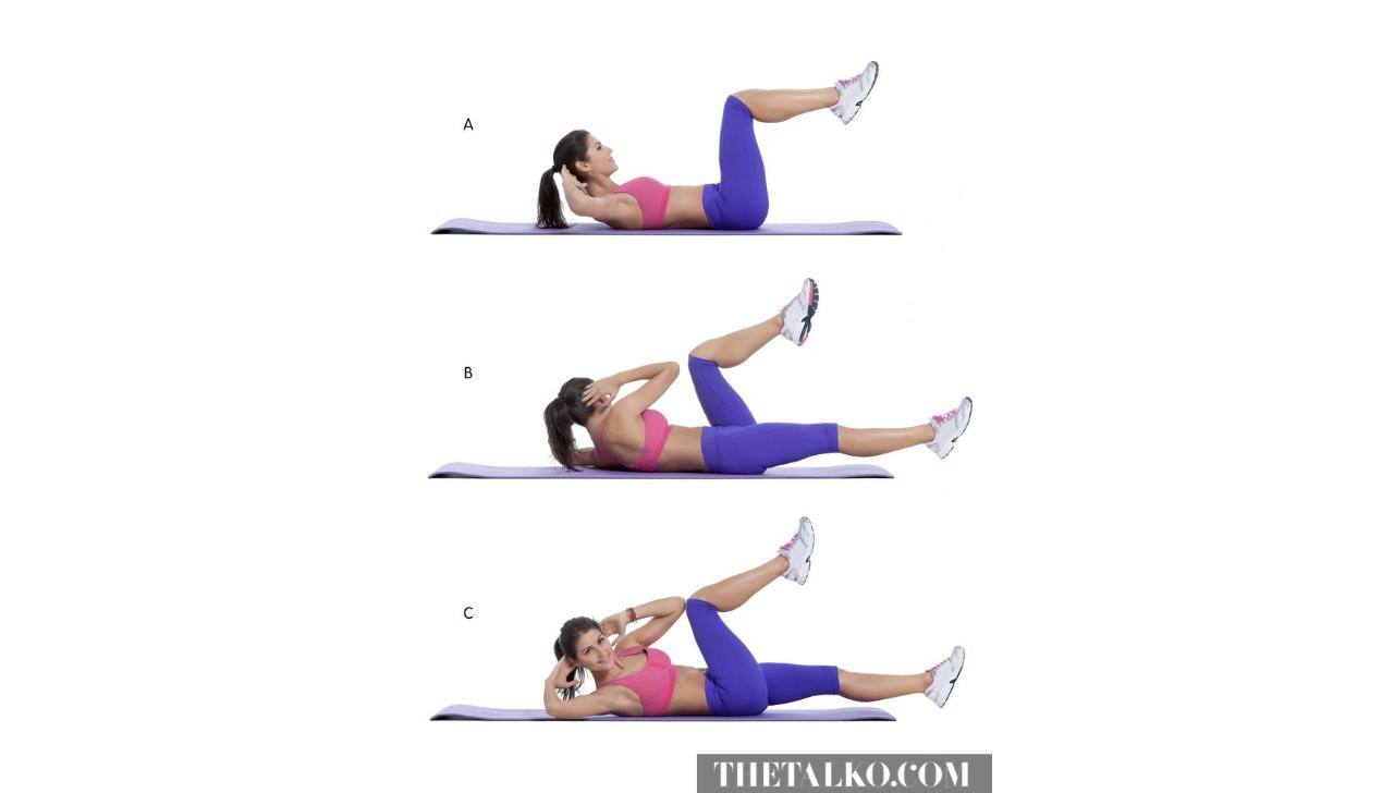 yatakta yapabileceginiz egzersizler elbow to knee crunches galeri