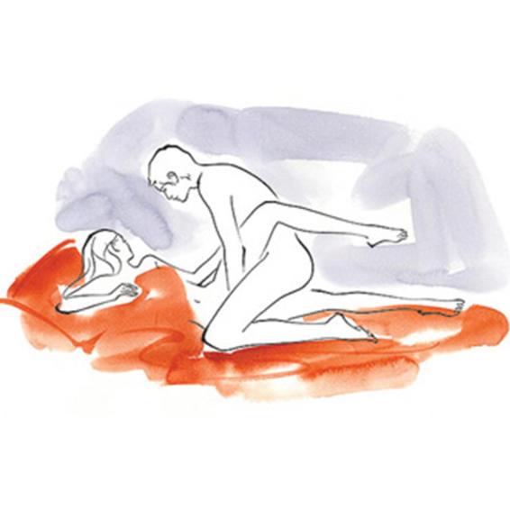 Nasıl: Kadın sağ tarafının üstüne yatar, erkek dizlerinin üstünde durur, kadının sağ bacağını tutar ve kadının sol bacağının üstünde durur.