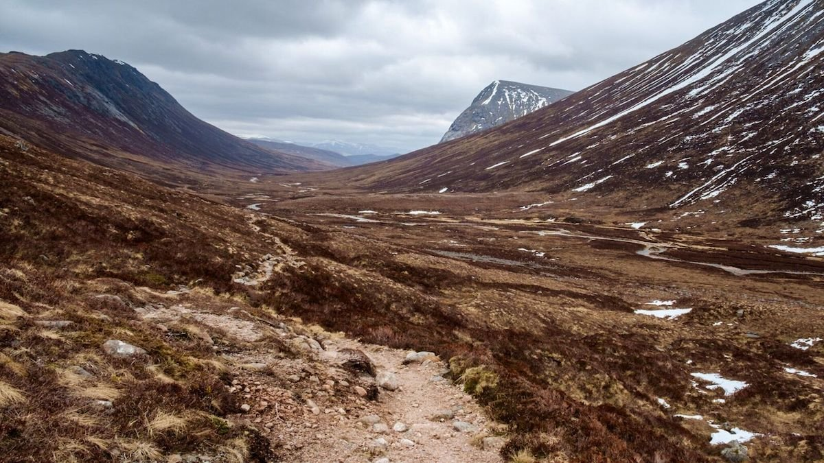 backpack through lairig ghrus sub arctic plateau in scotland