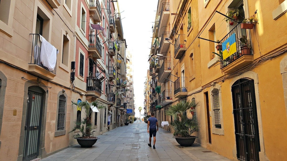 get lost in the tangled streets of barceloneta spain