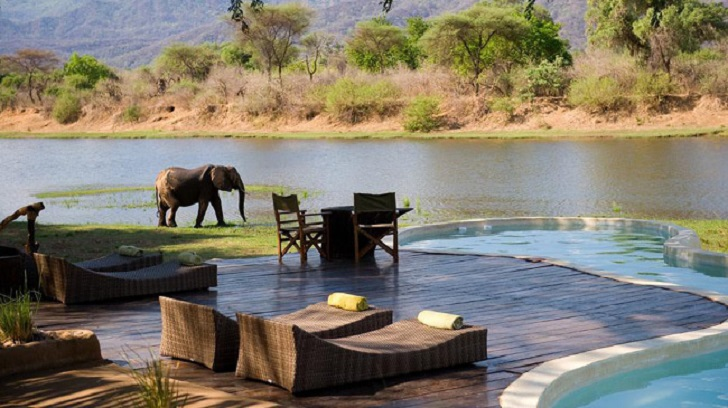 chonwe river house pool in zambia africa