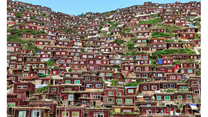 stacked village complex for nuns in kham tibet photo by shinya itahana
