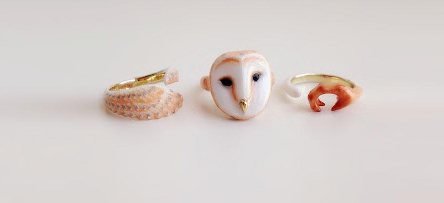 piece animal rings dainty me