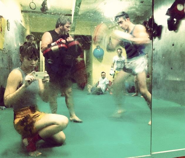Boran Gym'de akşam antrenmanının sonlarına gelirken.