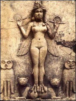 Burney Relief adı verilen Mezapotamya kil levhasında, Babil'lilerin doğurganlık, aşk, seks ve savaş tanrıçası İshhar'ı veya Sümerli muadili İnanna'nın temsil edildiği düşünülüyor.