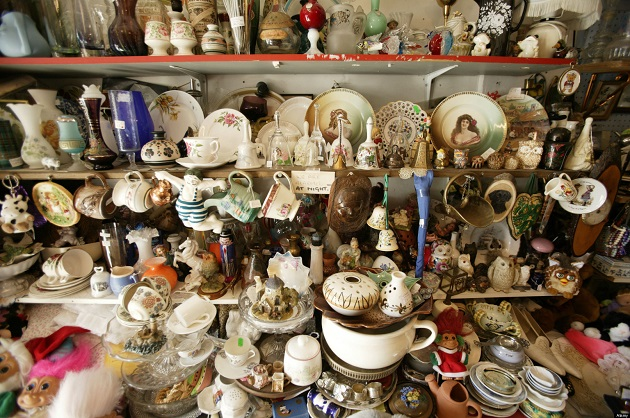 clutter in a charity shop