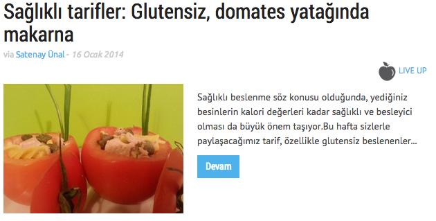 Glutensiz domates yatağında makarna