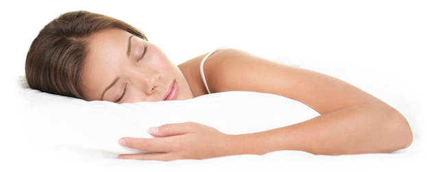 Woman sleeping on white background