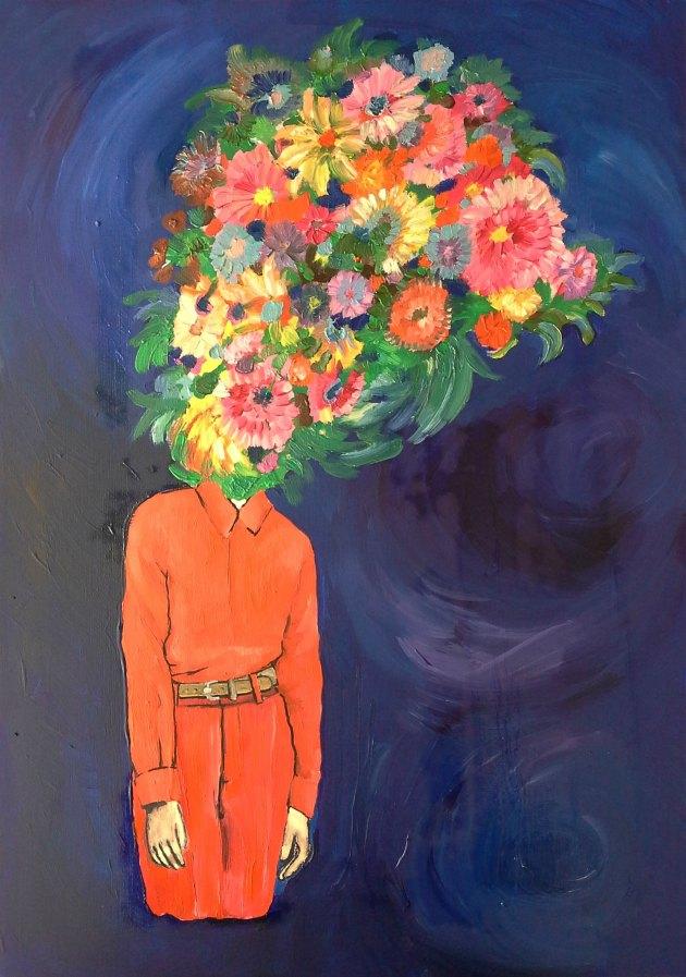 Saliha Yılmaz, Çiçek Sarmaşığı, 2015, Canvas kağıdı üzerine yağlı boya, 35x50cm