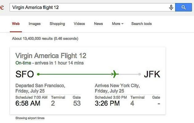 google arama çubuğundan uçuşla ilgili bilgiler edinmek