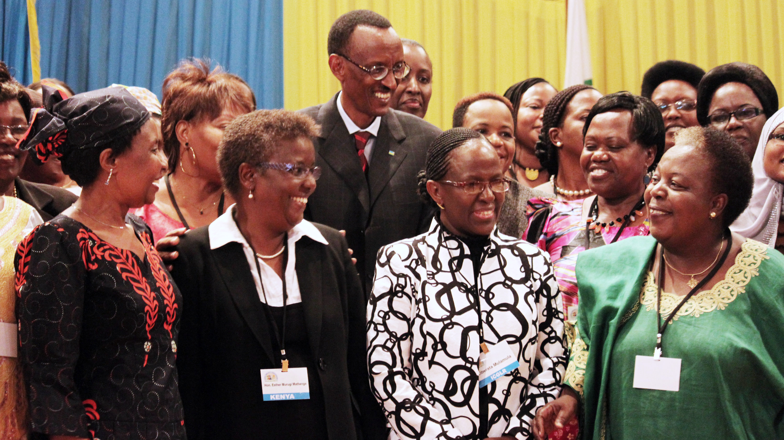Rwandan President Paul Kagame takes part in a conference on the role of women at the nation's Parliament in the capital, Kigali, in 2010. Women in Rwanda account for 64 percent of the lower house of Parliament -- a higher percentage than in any other country.