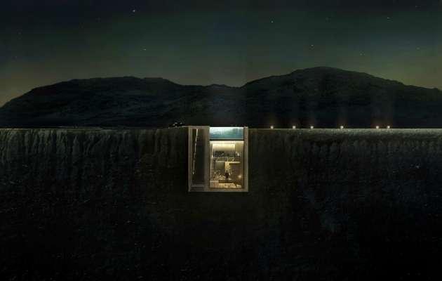 Uçurumun kenarına gizlenmiş olan bu evin rüya gibi bir manzarası var