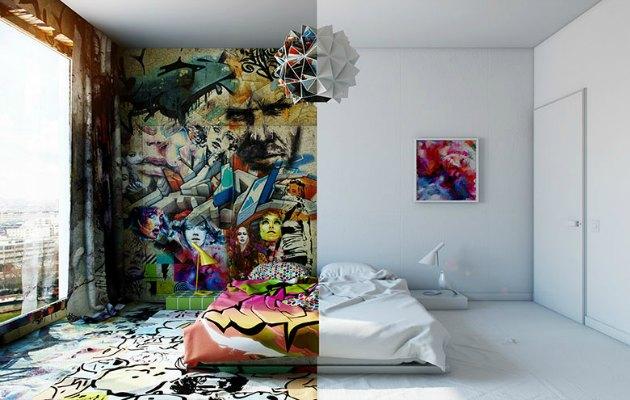 Yarısı beyaz yarısı grafiti olan otel odaları