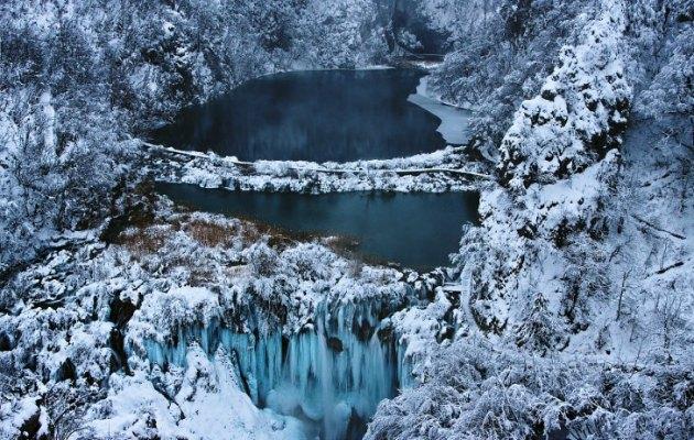 Plitvice Gölleri kar manzaraları ile ilgili görsel sonucu